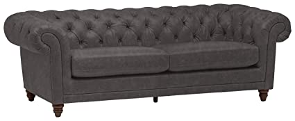 Enjoyable Stone Beam Bradbury Chesterfield Tufted Leather Sofa Couch 92 9W Black Forskolin Free Trial Chair Design Images Forskolin Free Trialorg