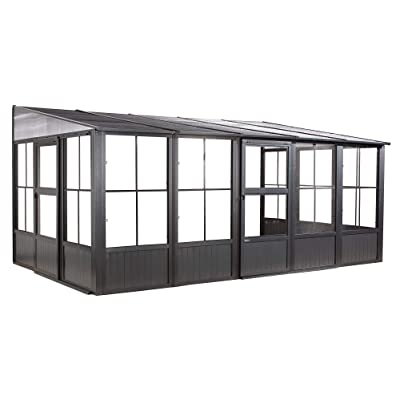 Sojag Outdoor 10' x 16' Charleston Solarium Wall-Mounted Sunroom with Mosquito Nets, Dark Grey : Garden & Outdoor