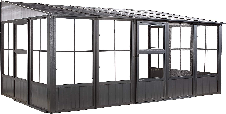 Sojag Outdoor 10' x 16' Charleston Solarium Wall-Mounted Sunroom with Mosquito Nets, Dark Grey