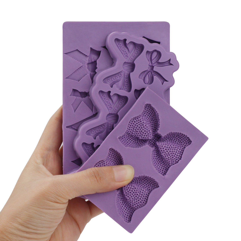 Bow Fondant Mold, Beasea 3pcs Candy Sugar Craft Fondant DIY Gumpaste Cake Decoration Cupcake Decorating Toppers Clay Purple by Beasea (Image #6)