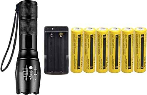 Tactical Flashlight,Super Bright 2000 LM LED Handheld Flashlight with 6Pack Rechargeable 3.7V Battery Charger,Zoomable, 5 Modes, Waterproof,Camping, Outdoor, Emergency, Everyday Flashlights