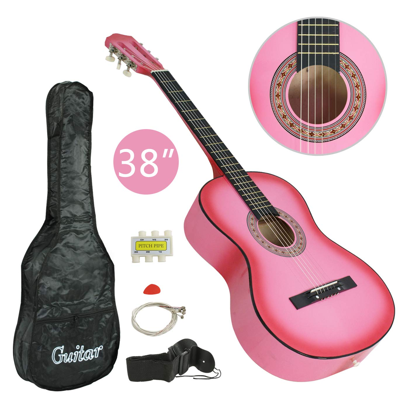 "LEMY 38"" Acoustic Guitar Beginner Set with Strap, Digital E-Tuner, Pick and Case for Right-handed Starters, Kids, Music Lovers (Pink)"