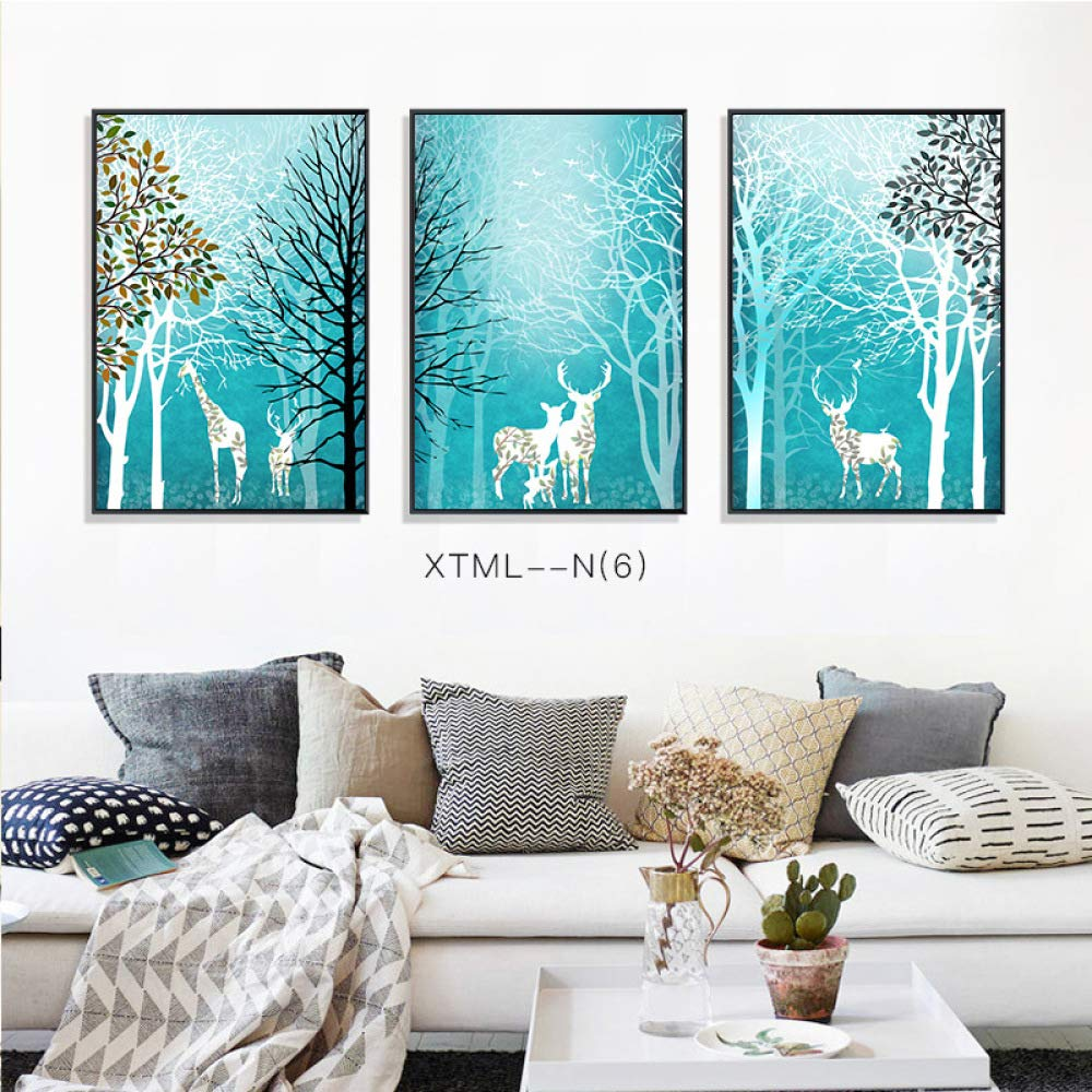 Simple elk Plant European Decorative Painting, Animal Pattern Still Life Mural, Living Room Decorative Painting, Hanging Painting, Triptych,C,3040cm by SED