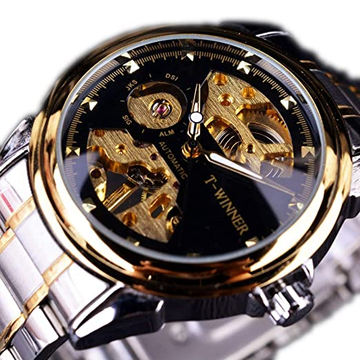 Winner Business Relojes para Hombre Reloj de Lujo Half Skeleton Negro Dorado Transparente Moda Mecánico Reloj de Pulsera: Amazon.es: Relojes
