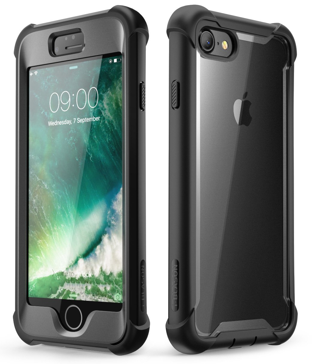 iPhone 8 Case, iPhone 7 Case, i-Blason [Ares] Full-Body Rugged Clear Bumper Case with Built-in Screen Protector for Apple iPhone 8 / Apple iPhone 7 (Black)