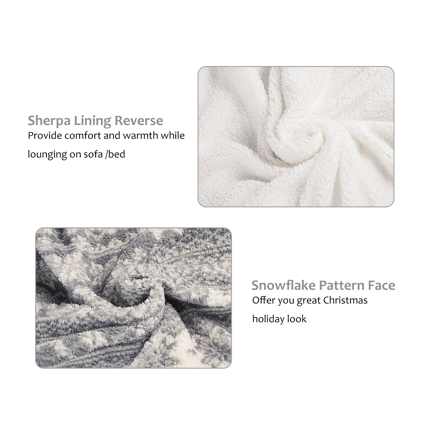 Snowflake Theme Sherpa Throw Blanket, Luxury Reversible Cozy Fleece Blanket, Warm Super Soft Comfort Caring Gift for Children and Adult, 155cm x 127cm, Grey by Catalonia