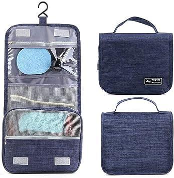 HSKB - Neceser con asa y Gancho para Colgar, Bolsa de Aseo, Impermeable, Bolsa de Lavado, Bolsa de Viaje, Organizador para Hombre y Mujer Azul Azul Medium: Amazon.es: Equipaje