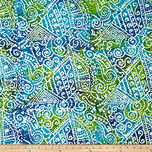 Print Patch Batik - Textile Creations Indian Batik Crinkle Cotton Print Ethnic Patchwork Blue/Green Fabric by The Yard,