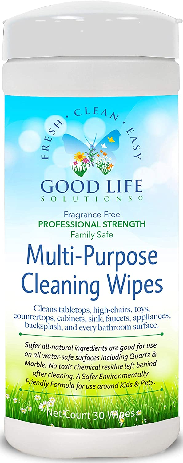 All Natural Surface Cleaning Wipes - Kitchen, Bathroom, Auto, Office, RV, Boat - Non-Toxic Ingredients, Durable All Cotton, High Thread Count Fabric, All-Purpose, Professional Strength, Biodegradable.