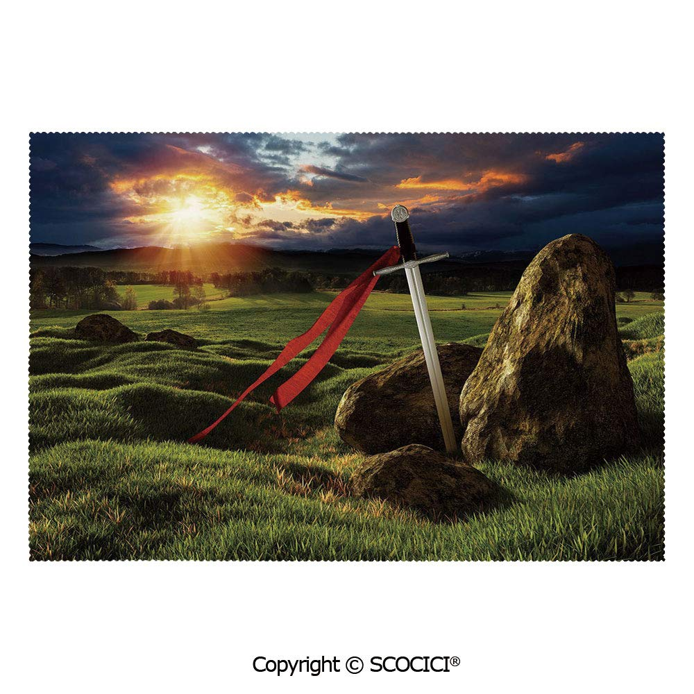 SCOCICI Placemats for Dining Table Stain-Resistant Arthur Camelot Legend Myth in England Ireland Fields Invincible Sword Image Ultra-Durable Heat-Resistant Dining Mat