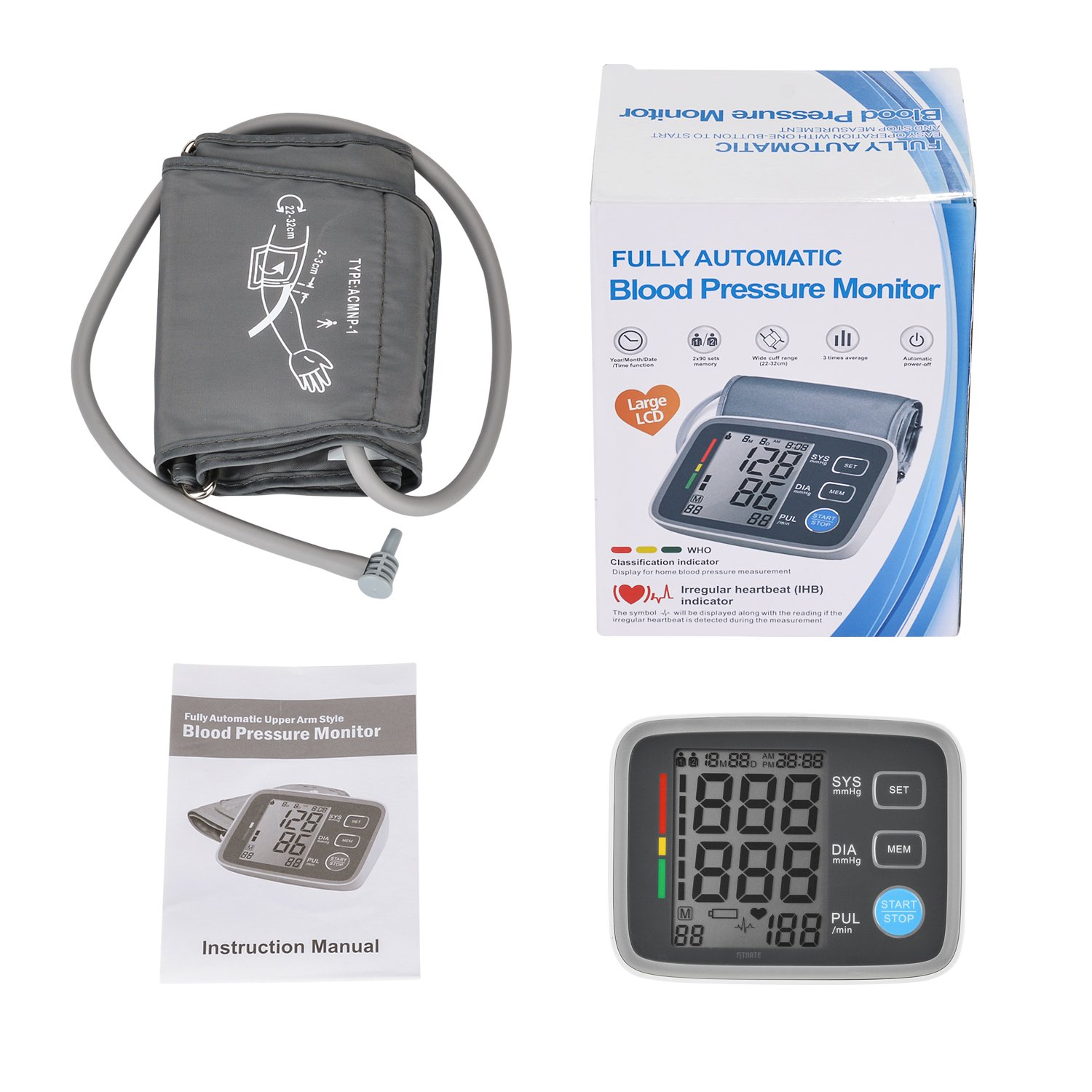 Amazon.com: Fitnate FDA CE Approved Automatic Upper Arm Blood Pressure Monitor with Cuff, Portable Digital BP Monitor with a Large LCD Displays, ...