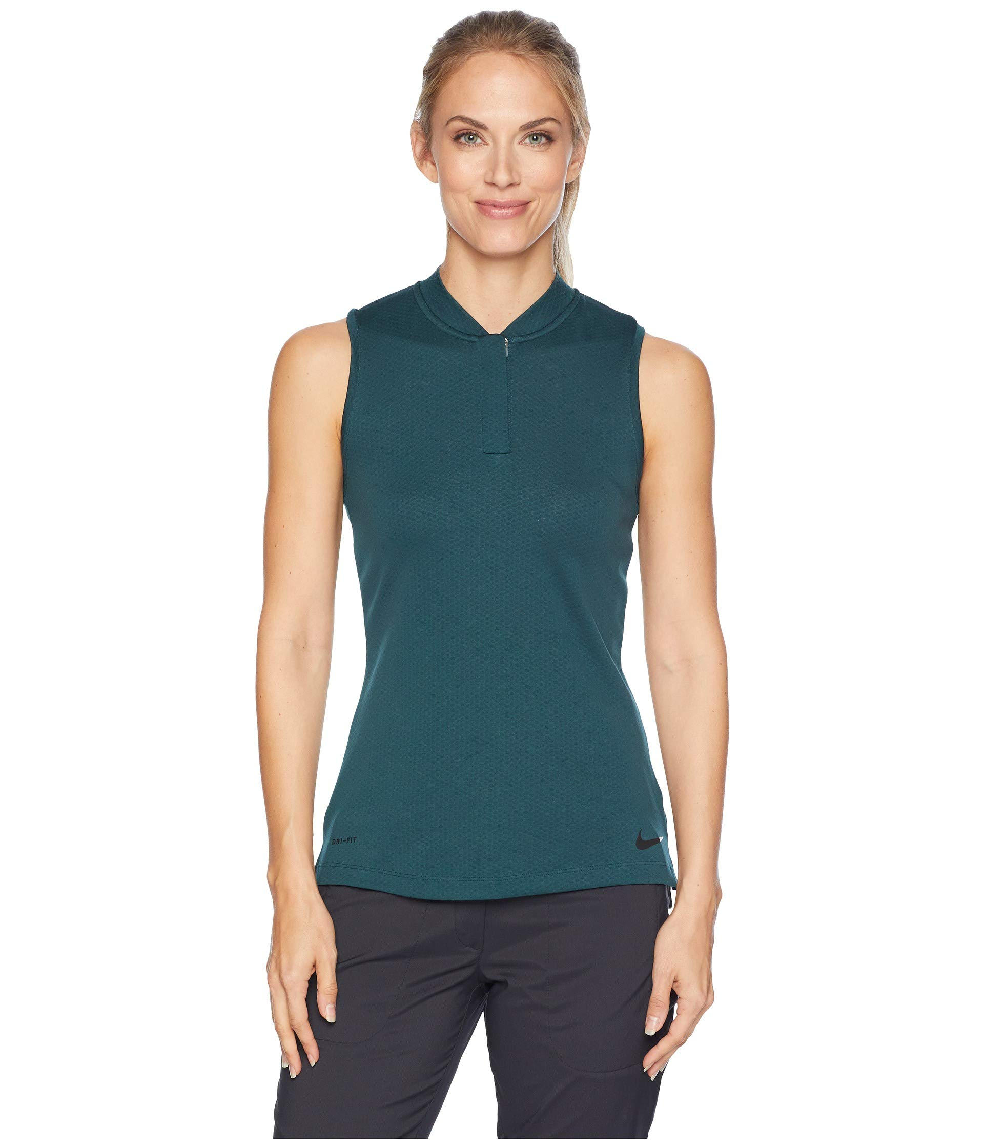 NIKE Women's Sleeveless Blade Dry Golf Polo (Midnight Spruce, Large) by Nike