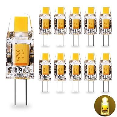 Yuiip G4 Bombillas LED 1.2W AC / DC 12V G4 10W Bombillas Halógenas Equivalentes Blanco Cálido 2700K, Bombillas COB, Paquete de 10 [Clase de energía A +]: ...