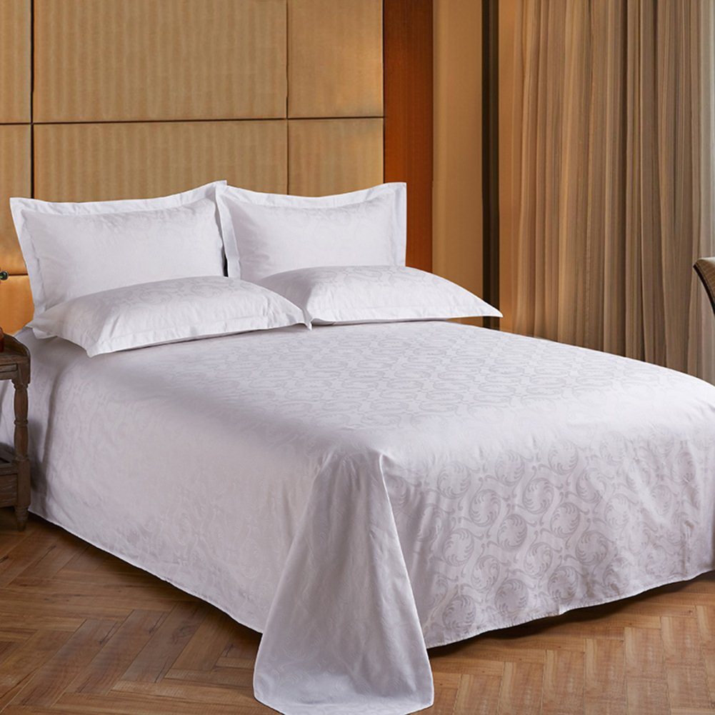 Hotel pure white satin bed sheets,Cotton coverlet hypoallergenic for all seasons king size-D 160x260cm(63x102inch)
