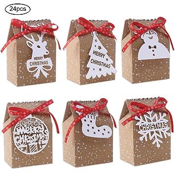 Amazon.com: 24 bolsas de regalo de Navidad de papel kraft ...