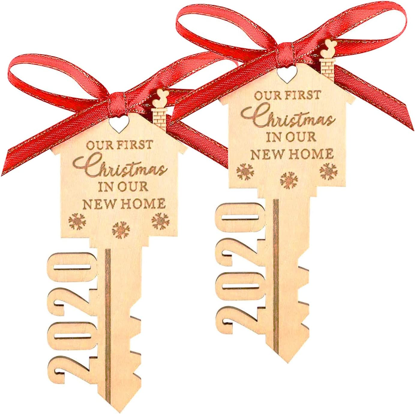 LEJHOME 2020 Our First Christmas in Our New Home Wood Key Christmas Ornament for Housewarming Gift Christmas Tree Holiday Decoration Pack of 2