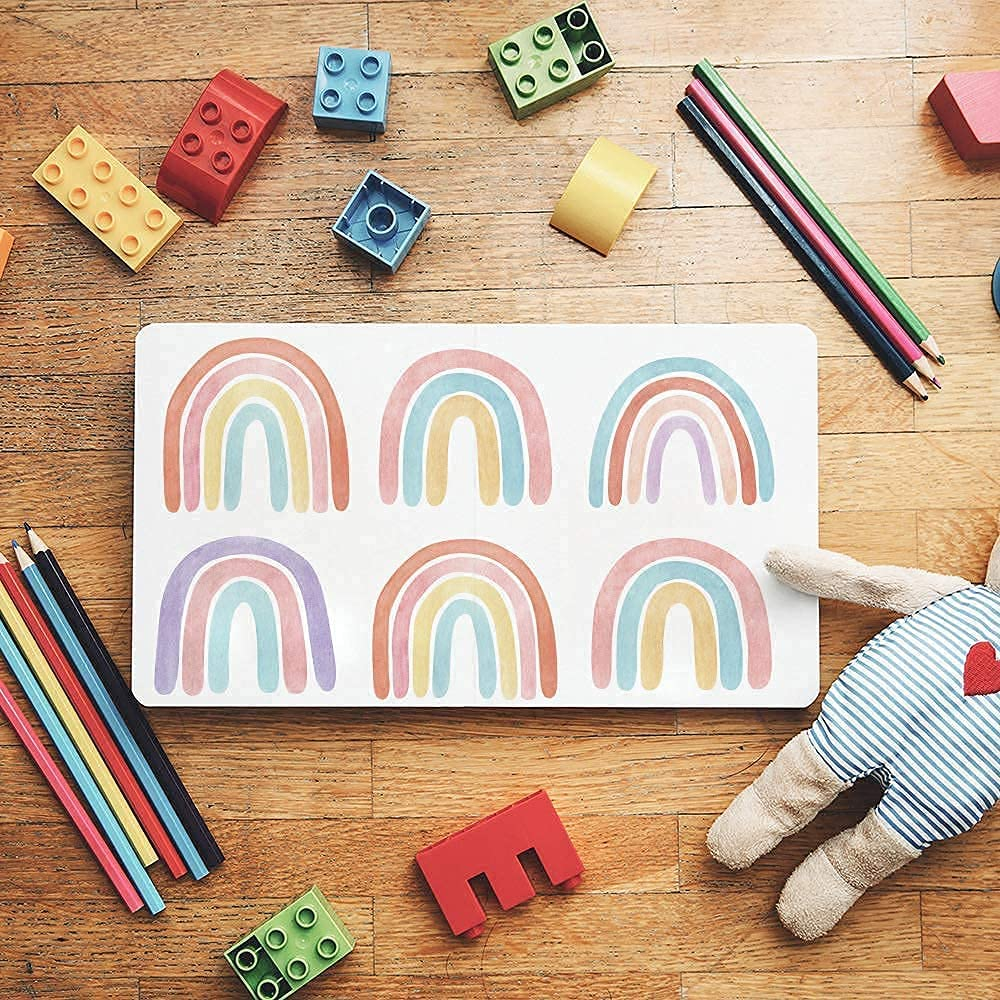 Rainbow Wall Decals Stickers Wall Decor for Girl Room Kids Bedroom, Peel and Stick Wallpaper Rainbow Mural Stickers Vinyl 36 Pcs