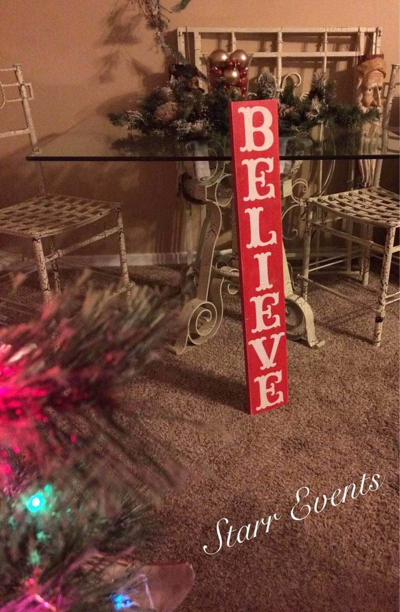 Amazon Com Vertical Believe Christmas Sign Rustic Christmas Signs Christmas Decorations Farmhouse Christmas Decor Handmade