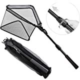 SAN LIKE Fishing Landing Net - Folding Fish Friendly Net Telescopic Long Handle Extending to 36inches 43inches 71inches 98inc