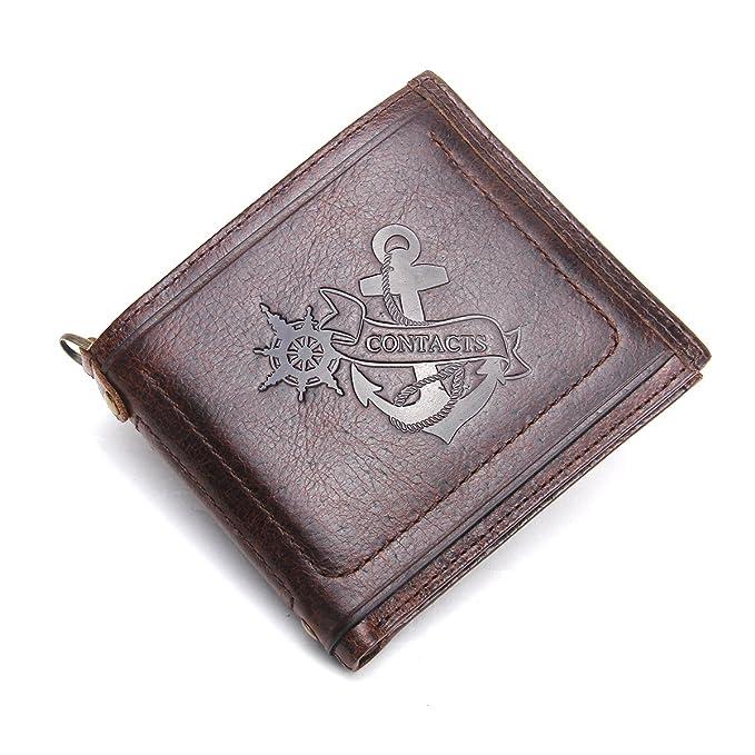 c2e035f3aeff Contacts Genuine Leather Vintage Mens Card Holder Money Clip Zipper Pocket  Purse Wallet Dark Brown