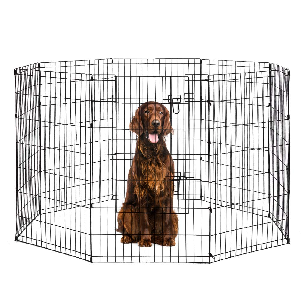 BestPet 8-Panel Tall Dog Playpen Crate Fence Pet Kennel Play Pen Exercise Cage, 42-Inch, Black by BestPet (Image #1)