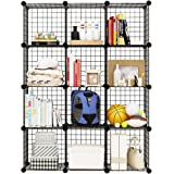 12 Storage Cubes by KOUSI, 12 Wire Grids Cube Closet Organizer Shelf Cabinet Bookcase Black