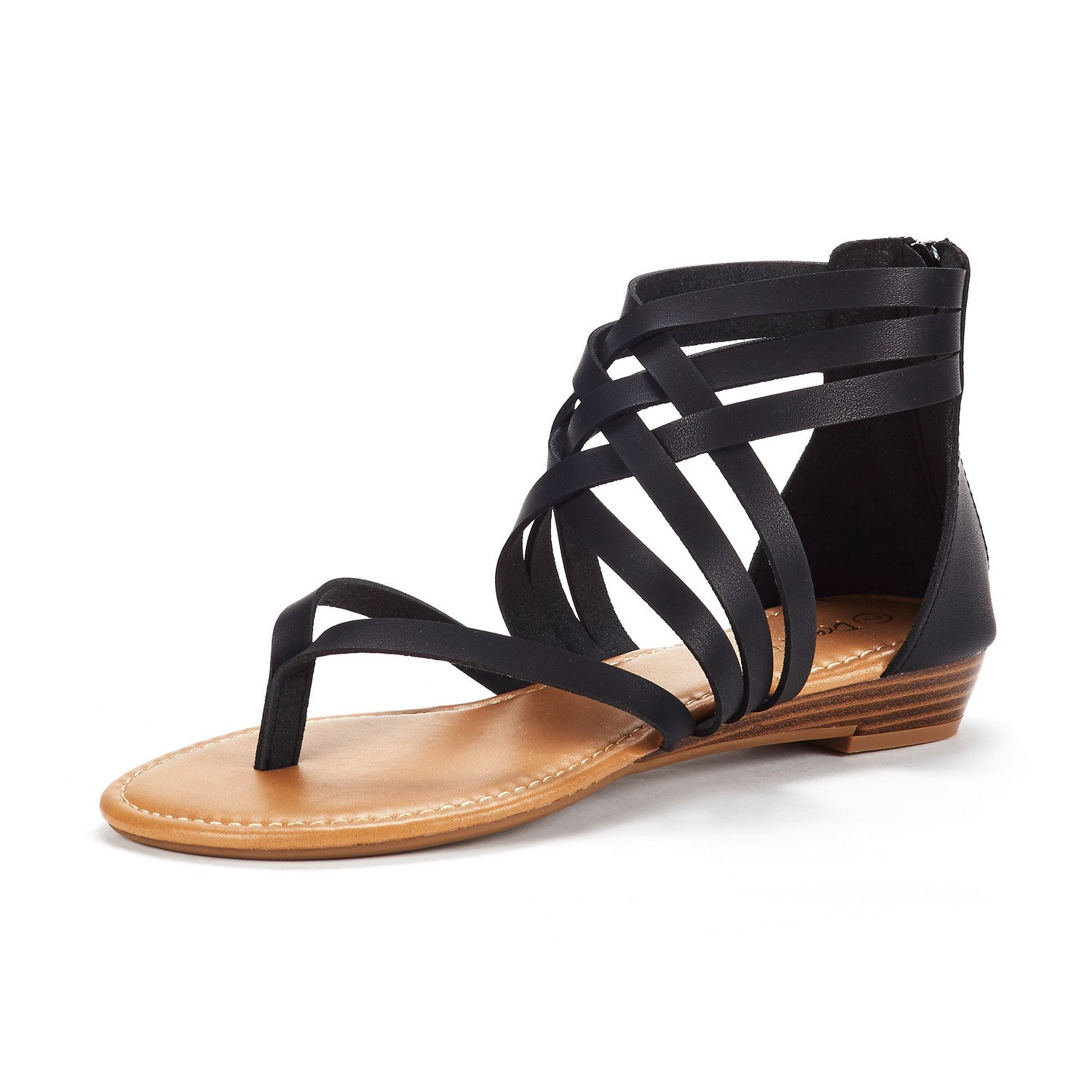 DREAM PAIRS Women's JUULY_02 Black Fashion Gladiator Design Ankle Strap Flat Sandals Size 10 M US