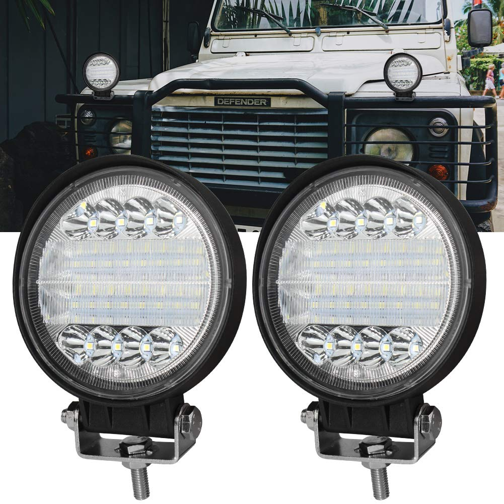 4x96W Foco Led Tractor con Angel Eyes,Faros Trabajo LED 12V 24V Focos de Coche LED Potentes Faros Adicionales Coche Luz de Niebla luz Auxiliar Moto 7200LM para Moto Offroad Tractor SUV Cami/ón Barco