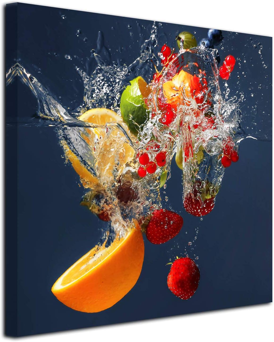 DECLINA Tableau Cadre carré de Fruits - Impression sur Toile décoration  Murale - Déco Maison, Cuisine, Salon, Chambre Adulte - Multicouleur 16x16 cm