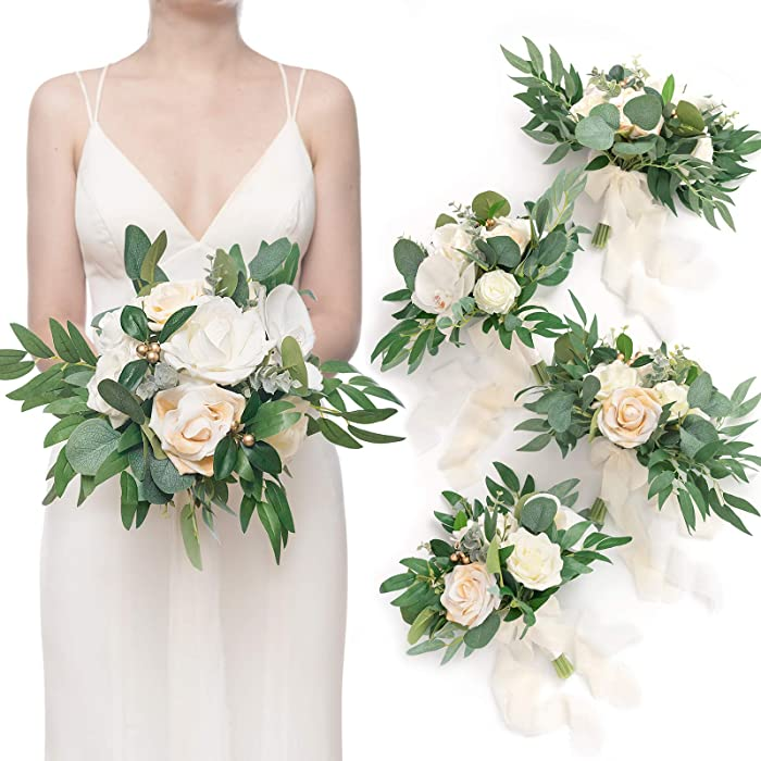Ling's moment Artificial Eucalyptus Greenery White Bridesmaid Bouquet for Vintage and Village Wedding, Marriage Proposal, Party Centerpieces Decor and Wedding Ceremony Anniversary (7 Inch,Set of 4)