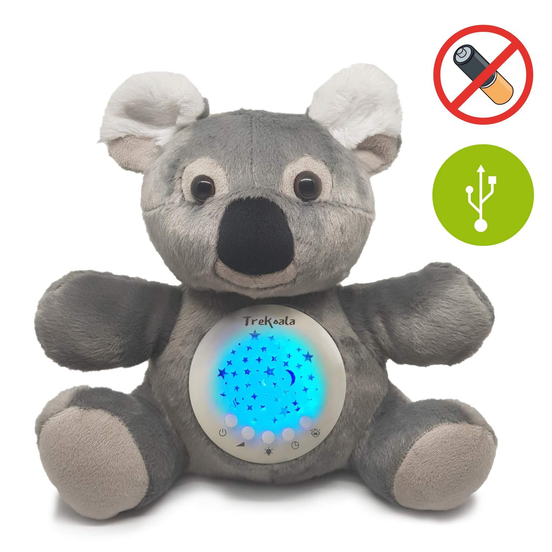 Trekoala ruidos blancos para bébé – sensor cry-baby – carga USB – carillón – proyector LED de estrellas – regalo para bébé – luz nocturna – peluche ...