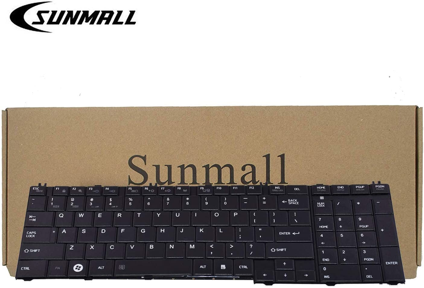 C655 Keyboard Compatible with Toshiba Satellite, SUNMALL Keyboard Replacement Compatible with Toshiba Satellite C655 L655 C755 L755 Series Laptop