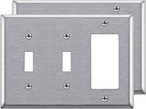 [2 Pack] BESTTEN 3-Gang Combination Metal Wall Plate, 2-Toggle/1-Decor, Standard Size, Anti-Corrosion Stainless Steel Outlet and Switch Cover, UL Listed, Silver