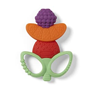 Infantino Lil' Nibble Teethers Fruit Kabob - Silicone Soft-Textured teether for Sensory Exploration and Teething Relief, with Easy to Hold Handles