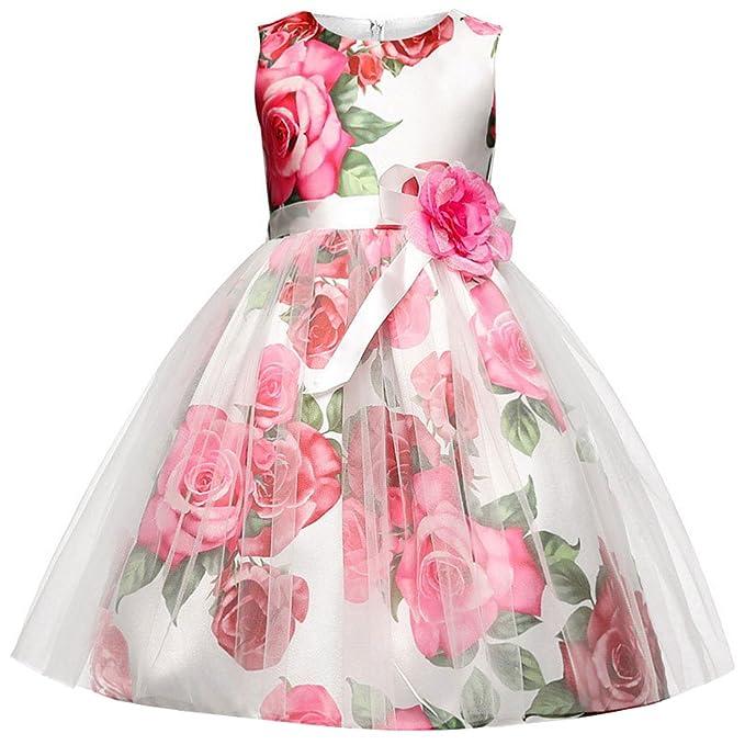 Ankoee Vestido Blanco y rojo de Princesa Fiestas Boda para Niñas Vestidos Elegantes de Noche Flor