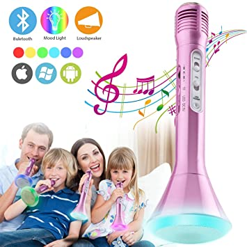 Micrófono Inalámbrico Bluetooth Karaoke con Altavoz, Máquina Portátil de Reproductor de Microfono para Karaoke Niños