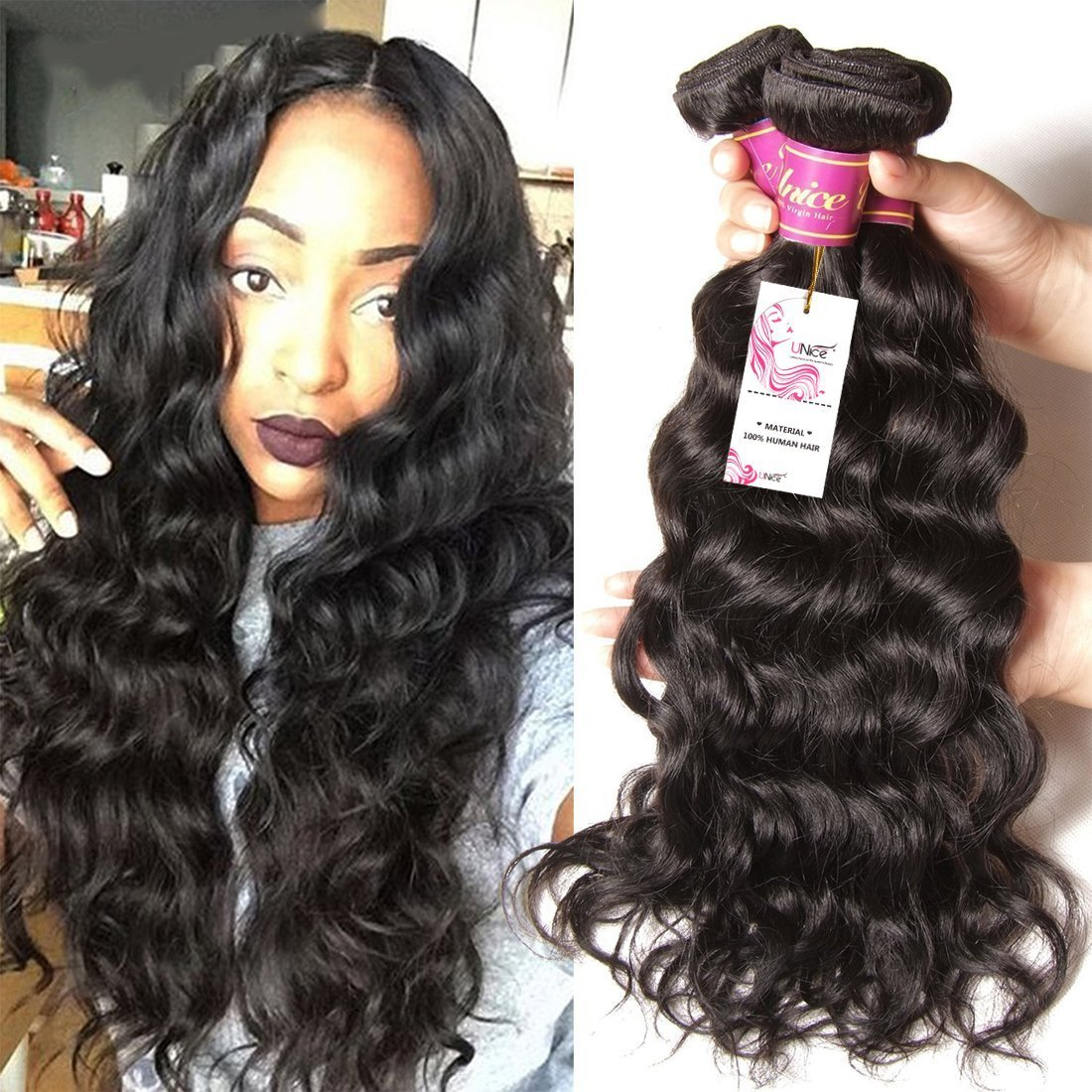 Unice Hair Brazilian Natural Wave 4''x4'' Free Part Lace Closure with 3 Bundles Hair Weft 100% Virgin Human Hair Natural Color (18 20 22+14Closure)