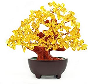 Colorsheng 7 Inch Quartz Crystal Money Tree Bonsai Fengshui Gem Decoration for Wealth and Luck (Yellow)