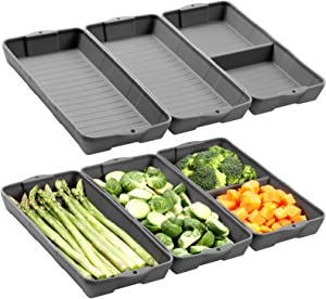 Nonstick Silicone Baking Sheet Pan, ZIP STANDINGSilicone Sheet Pan Set, Siliconebaking trays Dividers, Suitable for oven, air fryer to simplify cooking, Safe to use and easy to clean.(6 gray)
