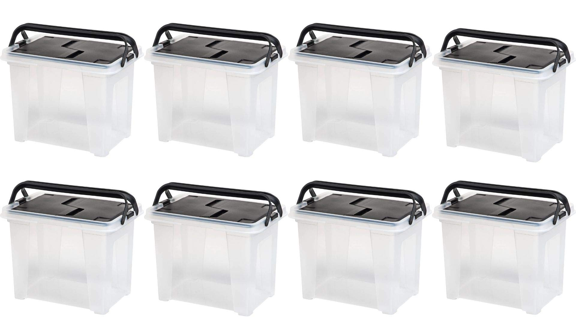 IRIS Letter Size Portable Hanging File Storage Box with Black Wing Lid, Set of 8