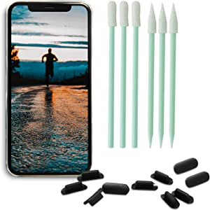 PortPlugs Port Covers (10 Pack) + 6 Piece Cell Phone Cleaning Kit, Anti-Dust Charging Port Plugs, Compatible with Apple iPhone 11, X, XS, 8, 8 Plus, 7, 6, iPads (Black)