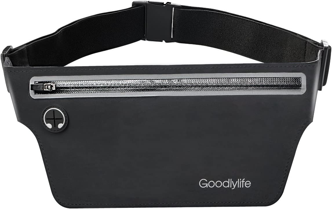 Goodlylife Running Belt Waist Pack for Gym Fitness Camping Cycling Hiking, Sweat Resistant Workout Belt Pouch Fanny Pack for Men and Women Can Hold Keys, Cards and Most Phones up to 6.5inch