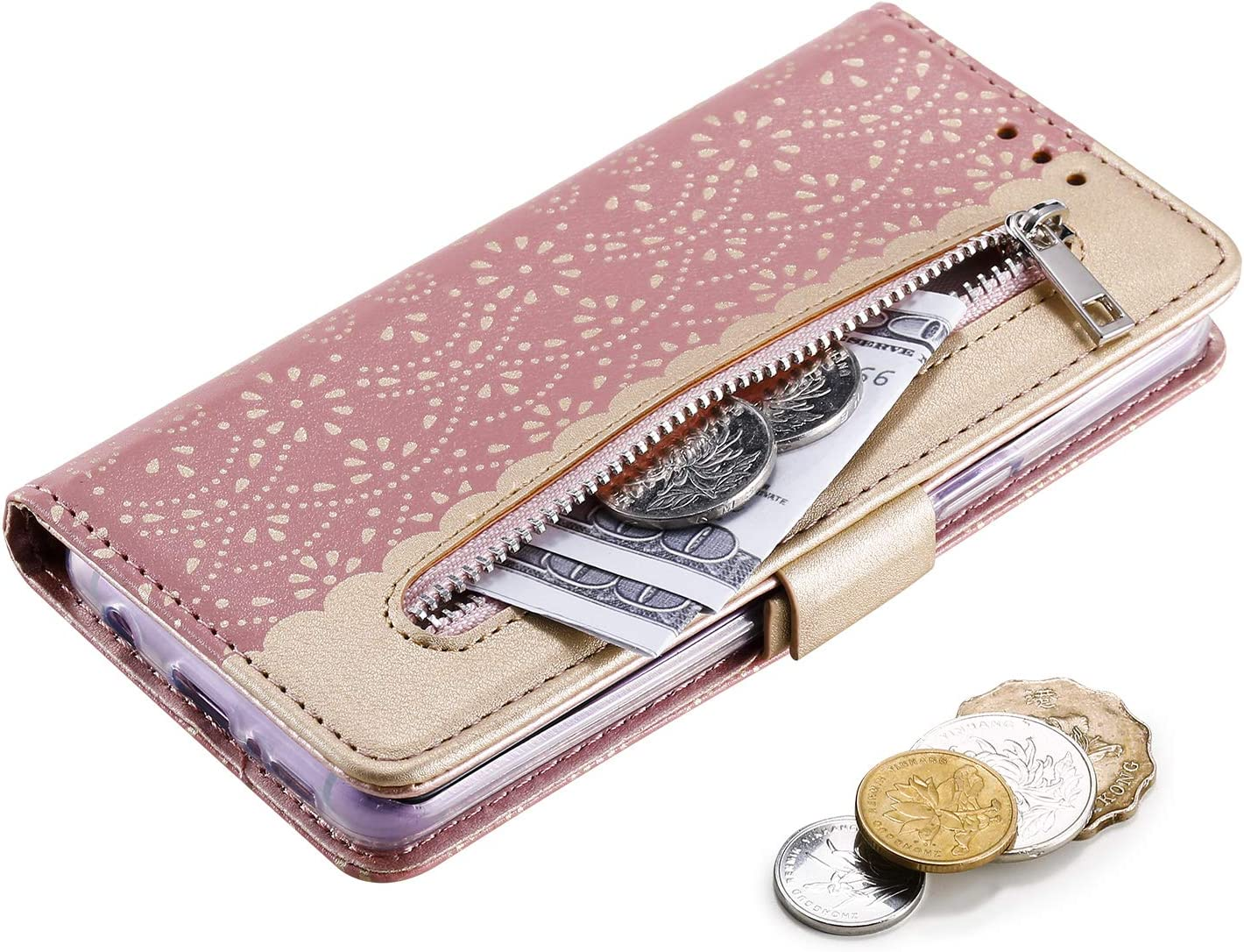 Stylish Flip Wallet Case for Samsung Galaxy S9 Plus,Lace Pattern PU Leather Case for Samsung Galaxy S9 Plus,Moiky Purple Lace Hollow Case with Wrist Strap Shockproof Magnetic Closure Protection