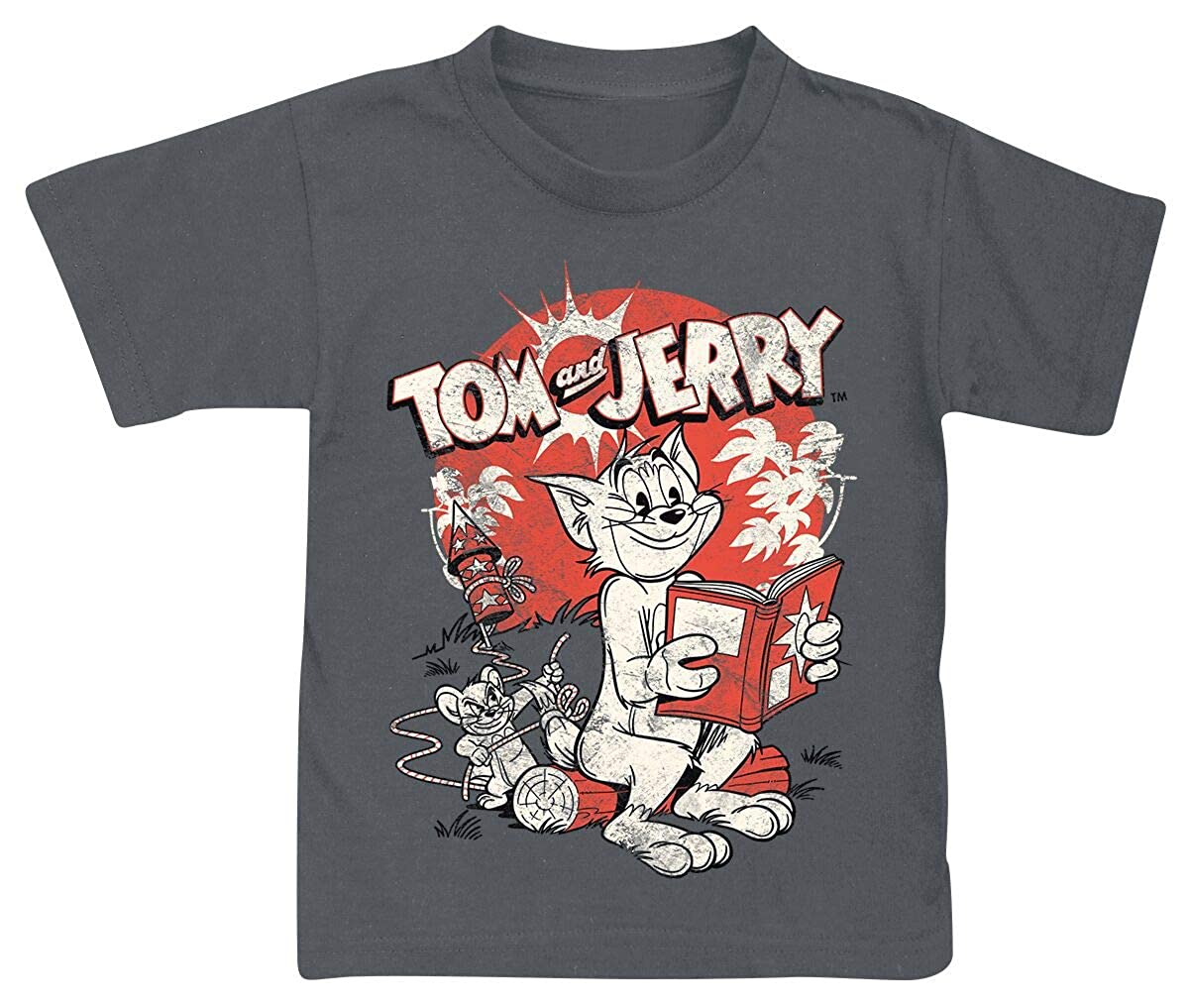 Tom und Jerry Vintage Comic T-Shirt dunkelgrau 152