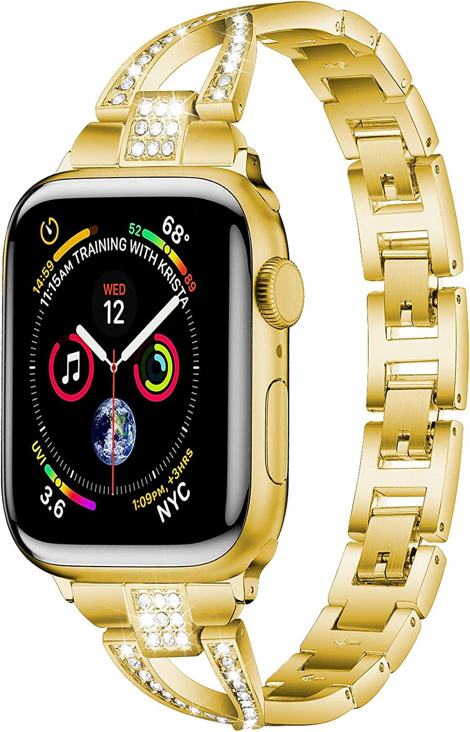PEIYUI High-end Stainless Steel Metal Band for Apple Watch 42mm 44mm, Women Strap Replacement Link Bracelet Band Compatible with Apple Watch Series 6 & 5 & SE iWatch Series 4/3/2/1 (Golden, 42mm-44mm)