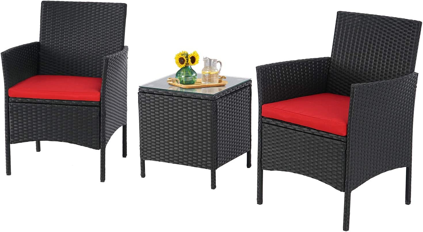incbruce patio bistro set 3 piece outdoor wicker furniture sets modern rattan garden conversation chair with thick cushion and glass top coffee table