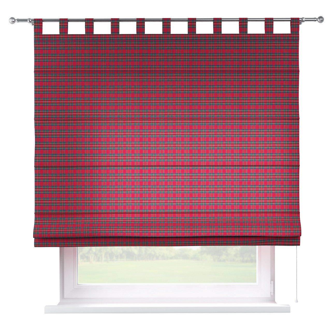 Dekoria Raffrollo Verona ohne Bohren Blickdicht Faltvorhang Raffgardine Wohnzimmer Schlafzimmer Kinderzimmer 80 × 170 cm rot-grün Raffrollos auf Maß maßanfertigung möglich