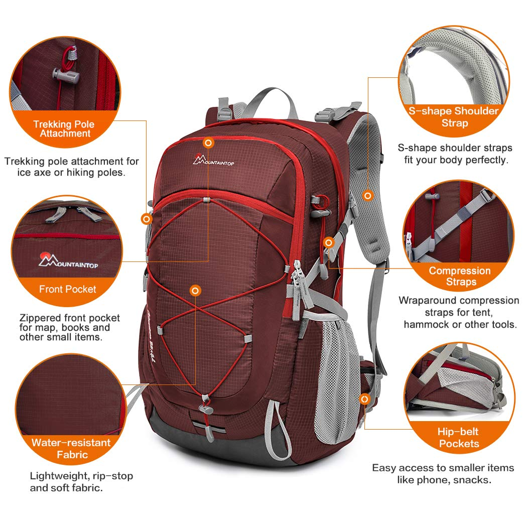 Mountaintop 22L//28L//40L Unisex Hiking//Camping Backpack Mardingtop