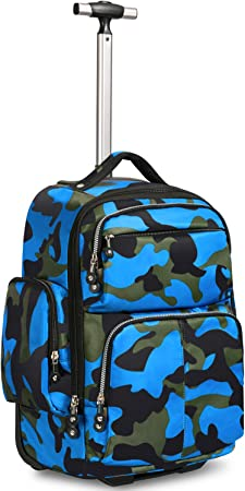 13 laptop backpack Waterproof backpack Colour block backpack Blue and camouflage backpack