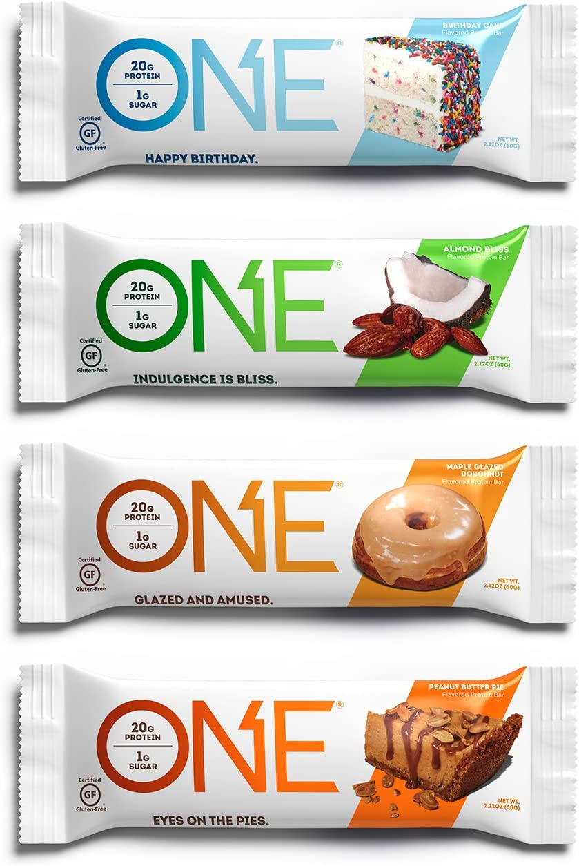 ONE Protein Bars, Best Sellers Variety Pack, Gluten Free 20g Protein and only 1g Sugar, Birthday Cake, Almond Bliss, Maple Glazed Doughnut Peanut Butter Pie, 2.12 oz 12 Pack